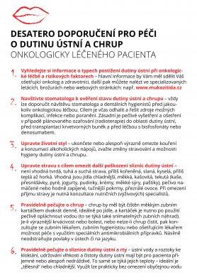 Desatero doporučení pro péči o dutinu ústní a chrup onkologicky léčeného pacienta
